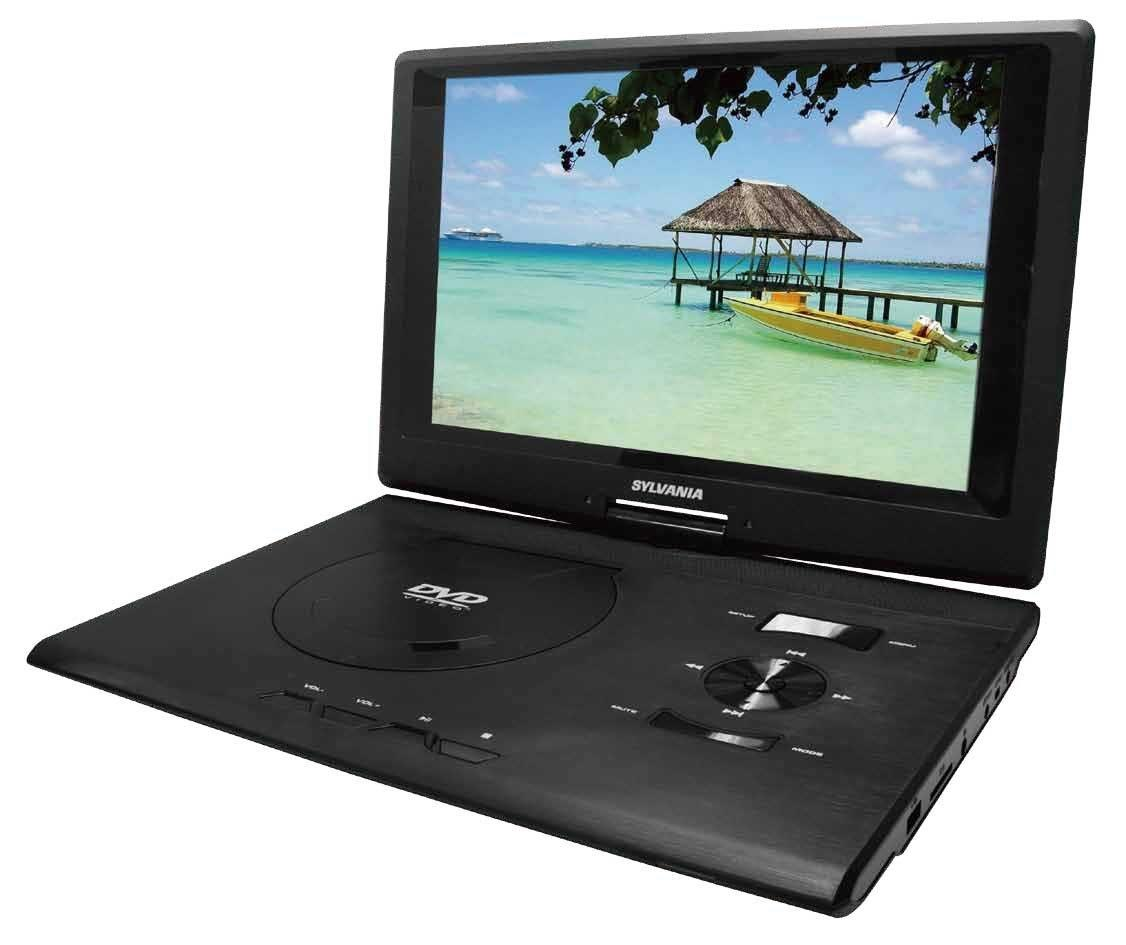 sylvania sdvd1332 13.3-inch swivel screen portable dvd player with usb/sd card r