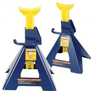 Hein-Werner HW93506 Blue-Yellow Jack Stands, 6 Ton Capacity