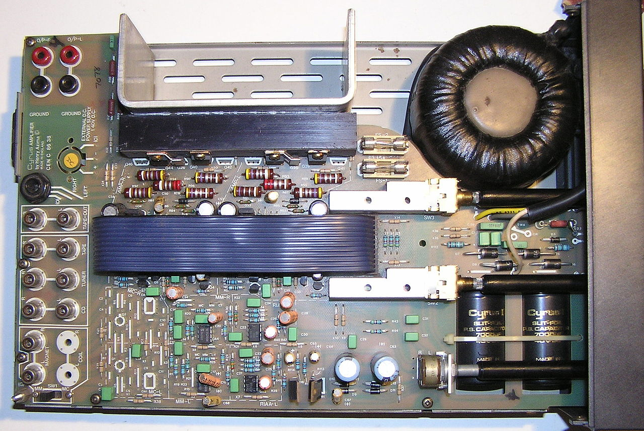 The inside of a Mission Cyrus 1 Hi Fi integrated audio amplifier (1984)